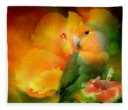 Love Among The Hibiscus Fleece Blanket