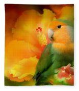Love Among The Hibiscus Fleece Blanket