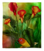 Love Among The Lilies  Fleece Blanket