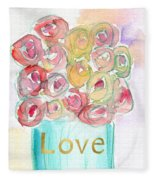 Love And Roses- Art By Linda Woods Fleece Blanket