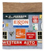 Love Barn With Road Signs, Orland, Maine Fleece Blanket