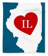 Love Illinois White Fleece Blanket