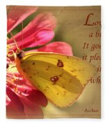 Love Is Like A Butterfly Fleece Blanket
