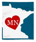 Love Minnesota White Fleece Blanket