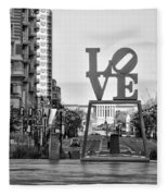 Love On The Parkway In Black And White Fleece Blanket