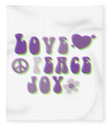 Love Peace And Joy Fleece Blanket