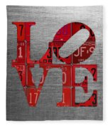 Love Sign Philadelphia Recycled Red Vintage License Plates On Aluminum Sheet Fleece Blanket