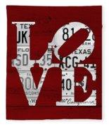 Love Sign Vintage License Plates On Red Barn Wood Fleece Blanket