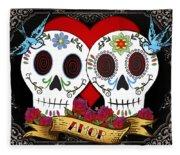 Love Skulls II Fleece Blanket