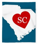 Love South Carolina White Fleece Blanket