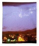 Loveland Colorado Front Range Foothills  Lightning Thunderstorm Fleece Blanket
