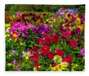Lovely Dahlia Garden Fleece Blanket
