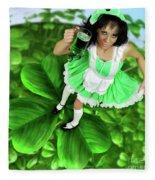 Lovely Irish Girl With A Glass Of Green Beer Fleece Blanket