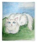 Lovely Kitty. White Cat Kusyaka Fleece Blanket