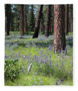 Lovely Lupine In The Mountains Fleece Blanket