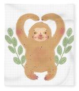 Lovely Sloth Illustration Fleece Blanket