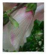 Lovely White And Pink Flowers Fleece Blanket