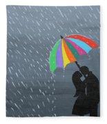 Lovers In The Rain Fleece Blanket