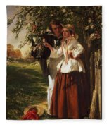 Lovers Under A Blossom Tree Fleece Blanket