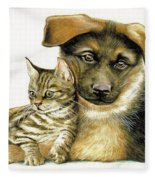 Loving Cat And Dog Fleece Blanket