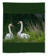 Loving Swans Fleece Blanket