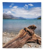 Low Angle View From The Rocky Dart River Bank At Kinloch, Nz Fleece Blanket