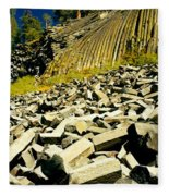 Low Angle View Of Devils Post Pile Fleece Blanket