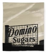 Low Angle View Of Domino Sugar Sign Fleece Blanket