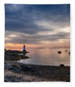 Low Tide At Salem's Lighthouse Fleece Blanket