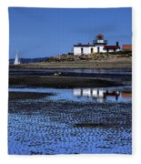 Low Tide At The Lighthouse Fleece Blanket