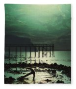Low Tide By Moonlight Fleece Blanket