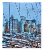 Lower East Side At Dusk From The Brooklyn Bridge Fleece Blanket