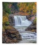 Lower Falls In Autumn Fleece Blanket
