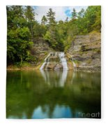 Lower Falls Of Enfield Glen Early Autumn Fleece Blanket