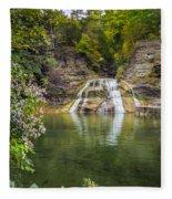Lower Falls Of Enfield Glen Robert H. Treman State Park Fleece Blanket