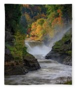 Lower Falls Of The Genesee River Fleece Blanket