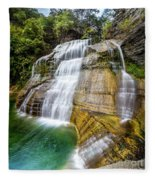 Lower Falls Profile At Enfield Glen Fleece Blanket