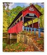 Lower Humbert Covered Bridge 2 - Paint Fleece Blanket