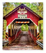 Lower Humbert Covered Bridge 5 Fleece Blanket