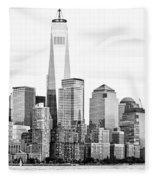 Lower Manhattan In Black And White Fleece Blanket