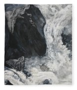 Lower Vernal Black And White  Fleece Blanket