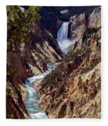 Lower Yellowstone Falls And River Fleece Blanket