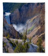 Lower Yellowstone Falls Fleece Blanket
