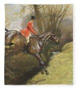 Lt Col Ted Lyon Jumping A Hedge Fleece Blanket