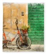 Lucca Italy Bike Watercolor Fleece Blanket