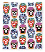 Lucha Libre Masks Fleece Blanket