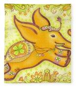 Lucky Elephant Orange Fleece Blanket
