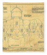 Lucy The Elephant Building Patent Blueprint  Fleece Blanket