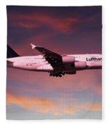 Lufthansa Airbus A380 D-aimh Fleece Blanket