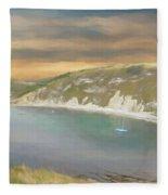 Lulworth Cove Panorama Fleece Blanket